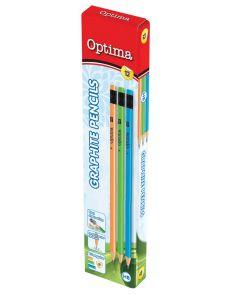 Молив Optima, с гума, HB, асорти цветове