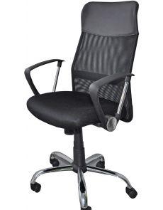 Работен стол Corfu, меш и еко кожа, черен