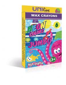 Пастели Jumbo Uniline, восъчни, 6 цвята, неонови