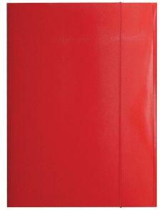 Папка с ластик Optima, 3 капака, картон, червена