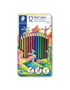 Цветни моливи Staedtler Noris 185, 12 цвята, метална кутия