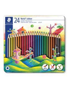 Цветни моливи Staedtler Noris 185, 24 цвята, метална кутия