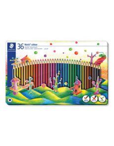 Цветни моливи Staedtler Noris 185, 36 цвята, метална кутия