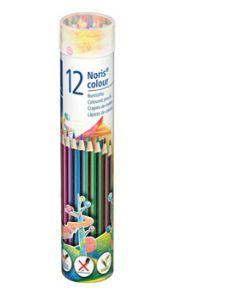 Цветни моливи Staedtler Noris 185, 12 цвята, метален тубус