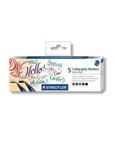 Комплект калиграфски маркери Staedtler, двувърхи, 5 цвята