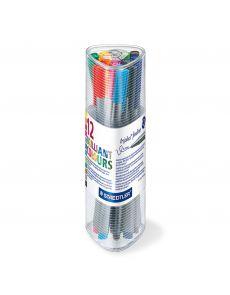 Комплект тънкописци Staedtler 334, 12 цвята в тубус