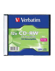 CD-RW Verbatim 700MB, 80min, 8-12x, jewel case