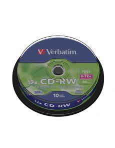 CD-RW Verbatim 700MB, 80min, 8-12x, оп10 шпиндел