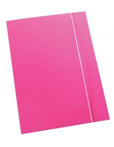 Папка с ластик Optima, 3 капака, картон, розова