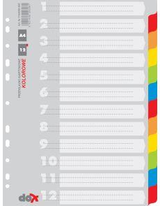 Разделители Office Products А4, картон, 12 цвята
