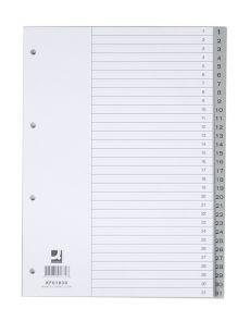 Разделители Q-Connect PP, 1-31, сив