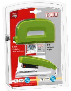 Комплект перфоратор и телбод Novus Е210+Е15+No10, зелен