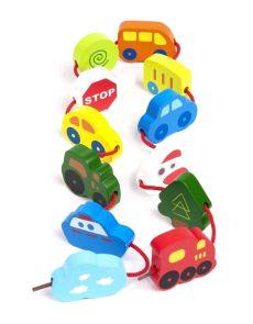 Дървени фигурки с превозни средства за нанизване