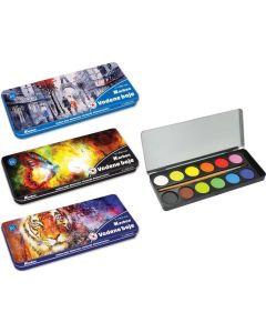 Акварелни боички Karbon, 12 цвята, в метална кутия