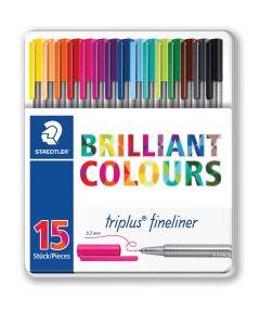 Комплект тънкописци Staedtler 334, 15 цвята, мет. кутия
