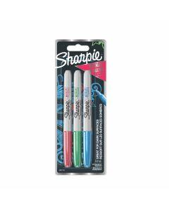 Перманентен маркер Sharpie Metallic, розов/зелен/син