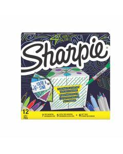 Комплект перманентни маркери Sharpie 12 бр + 6 етикета